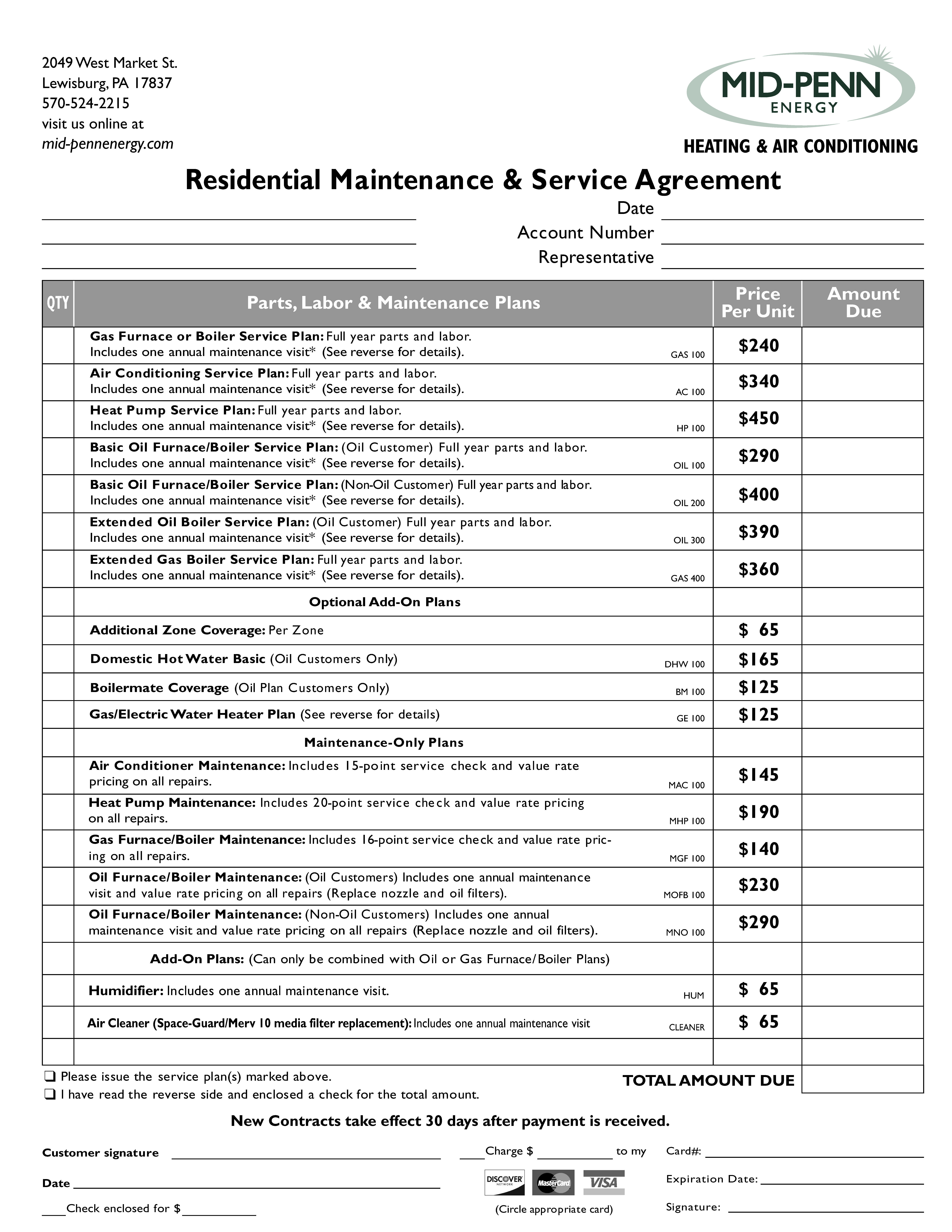 Maintenance & Service Agreements